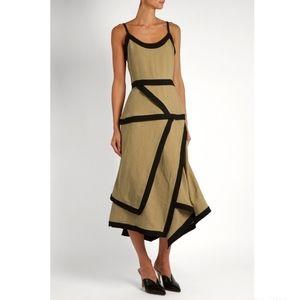 J.W. Anderson Linen Tan Black Asymmetrical Dress